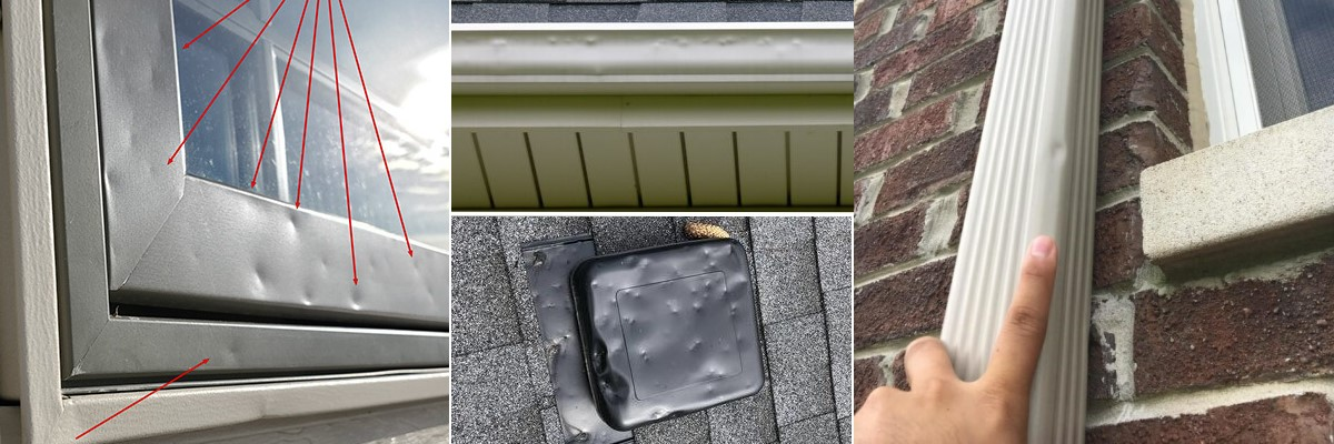 Hail Damage to gutters, downspouts, gutter guards, windows